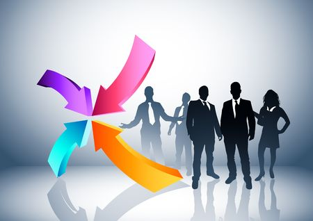 People and direction concept. Vector illustration. Stock Illustration - 2885665
