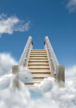 to go: Steps heading upwards into the sky.