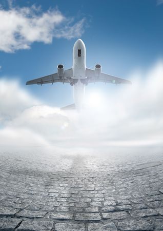 air: a Huge airliner taking off to a destination abroad.