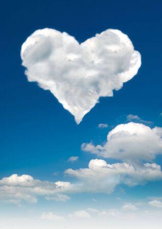 sat: A heart shaped cloud sat against a blue sky.