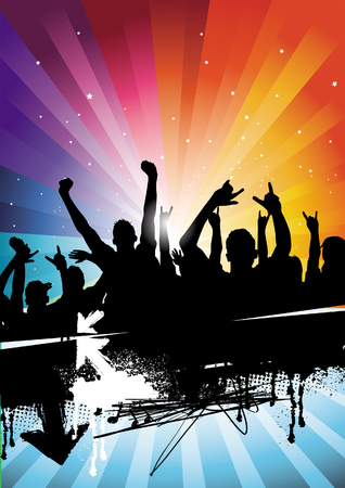 People enjoying them selves at a concert! All elements are individual objects and no flattened transparencies. Vector