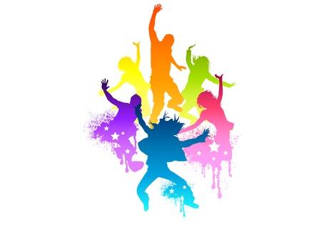 personas saltando: Personas j�venes y en forma de saltar de alegr�a! Vector illustration.All elementos cada uno de los objetos y no aplanada transparencias.