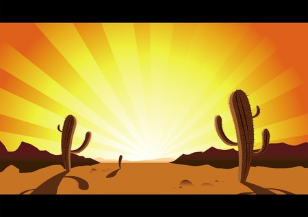 desert sunset: Rattlesnake Country! Large dry cactus dominate the landscape. Illustration