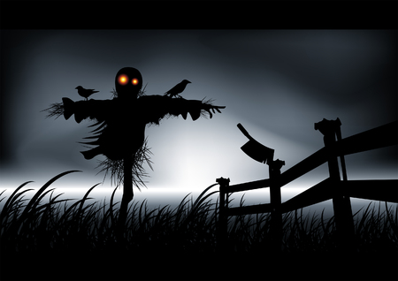 Lonely, dark and evil is this scarecrow. Get ready for halloween with style. Vector illustration. Illustration