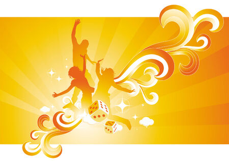 energetic: People against a warm summer background - fresh and energetic vector illustration.