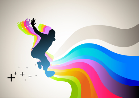 Active man jumping with flowing waves of colour. Vector illustration. Illustration