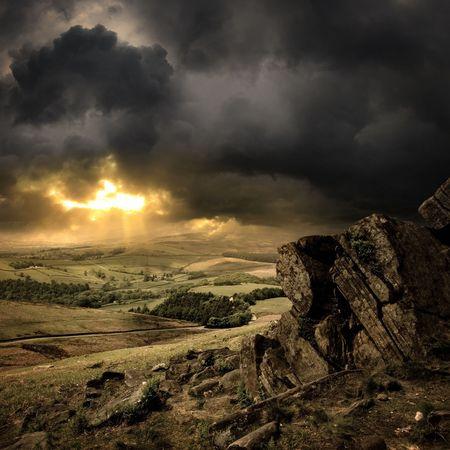 temp�te: Une vue du Peak District, en Angleterre.
