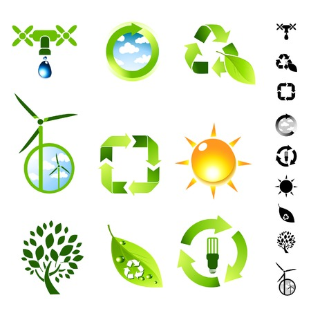 Green living vector icon set. Vector