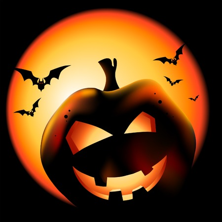 Grinning Halloween lantern vector illustration. Vector