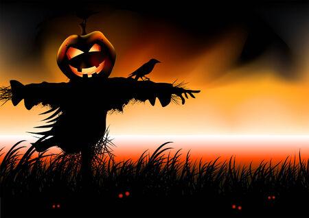 scarecrow: Halloween ... cae la cabeza de calabaza espantap�jaros espera. Ilustraci�n vectorial.