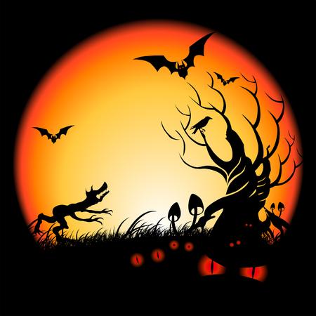 loup garou: Des choses �tranges se Halloween Night ... Vector illustration