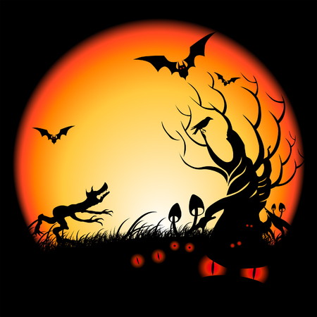 Strange things happening Halloween Night... Vector illustration
