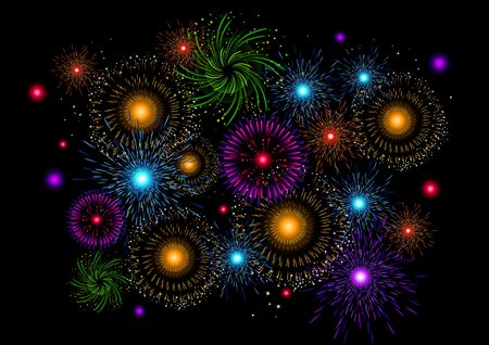 A large collection of vector fireworks. photo