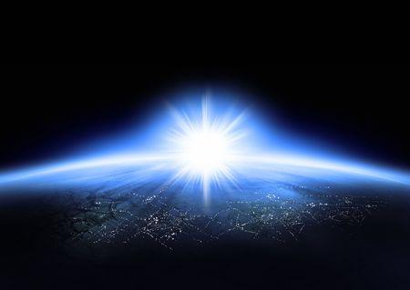 atmosfera: Planeta tierra con el sol. Miles de luces de la calle se puede ver en la superficie. NO NASA mapas o archivos que se usan en esta imagen. Todas las im�genes son fuente de mi propio trabajo.