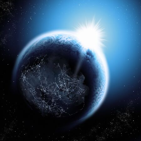 Sunlight breaking over the planet earth. NO NASA files or maps used in this image. ALL elements are sourced from my own images including textures. Stock Photo