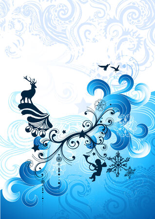 Christmas winter elements with flowing swirls. Vector illustration. Vector