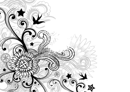 Floral design background with hand drawn elements. Vector illustration. Vector