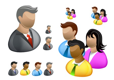 A collection of Business people internet user icons. Illustration