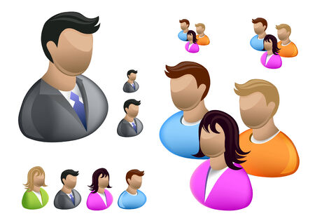 A collection of People icons including a businessman, women and men. Illustration