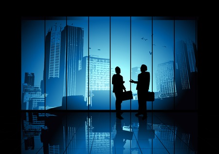 dandose la mano: Dos empresarios de agitar las manos en busca de la ciudad. Ilustraci�n vectorial. Vectores