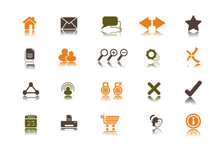 infomation: A collection of 23 internet and website icons. Illustration
