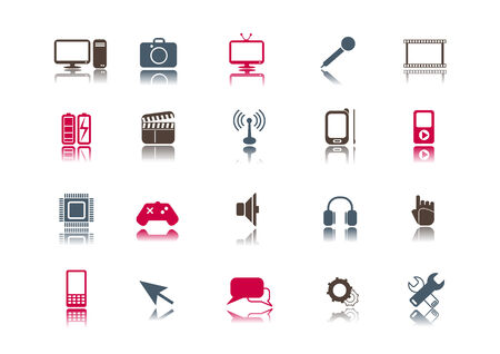 A collection of 20 media and technology icons. Vector
