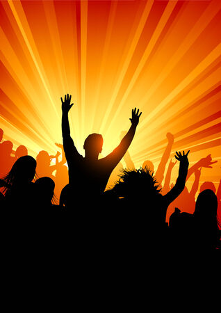 excitment: A large group of people at a concert. Vector illustration.