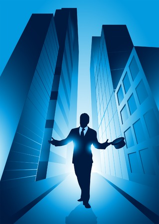 professional relationship: A businessman set against the big city. Vector illustration. Illustration