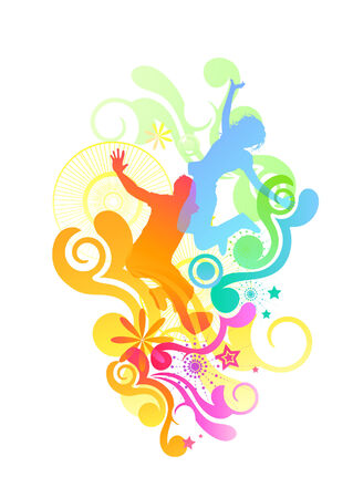 excercise: Happy people jumping with various design elements. Vector illustration Illustration