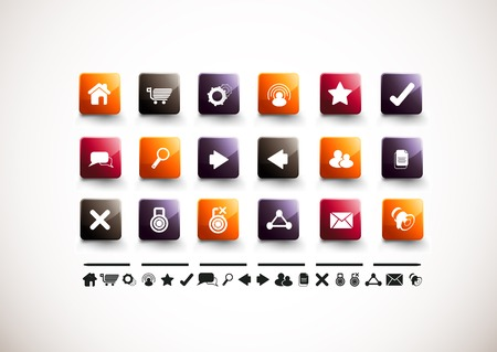 infomation: A collection of 18 internet and website icons. Illustration