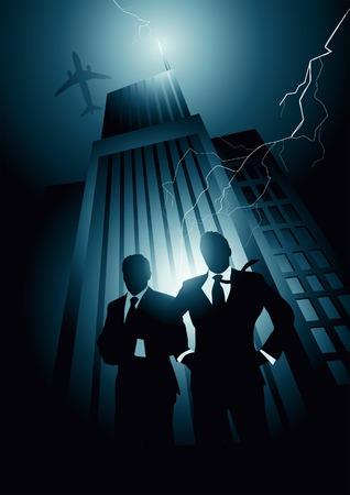 professional relationship: High energy with two corporate leaders. Vector illustration. Illustration