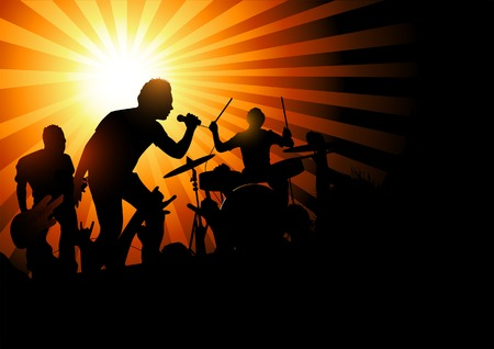 excitment: A band playing to a crowd of fans...vector illustration. Illustration