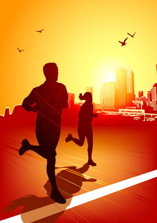 city man: A man and women running on a sunny evening with the city in the background.  Illustration