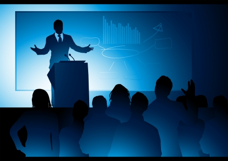 public speaker: A businessman delivering a speech. Illustration