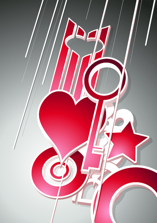 The third dimension. Vector illustration with hearts and keys. Vector