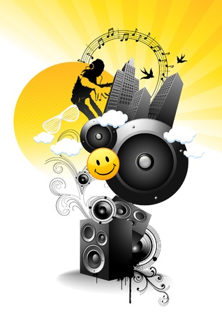 speaker box: Juicy - But Sharp like lemon! Vector music illustration.