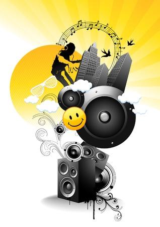 speaker box: Juicy - Pero como Sharp lim�n! Ilustraci�n vectorial m�sica.