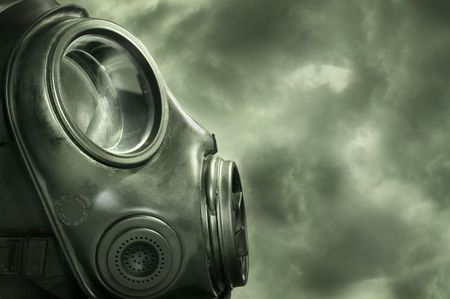 gas mask: UK military  Anti terrorism gas mask. Stock Photo