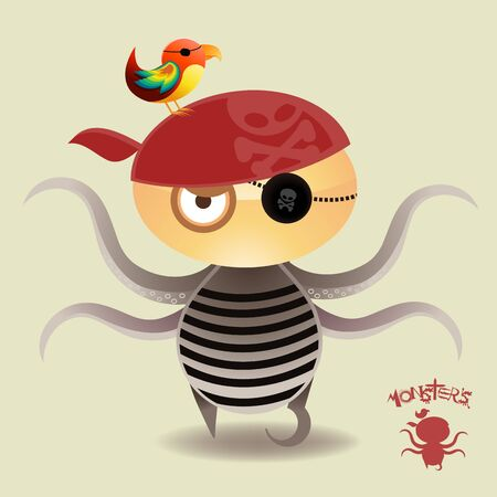 촉수: Tentacle Pirate Boy and his loyal parrot..