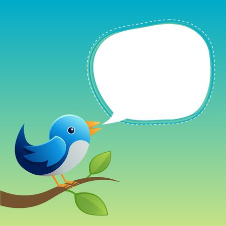 A bird speaking with a speech bubble. Stock Photo