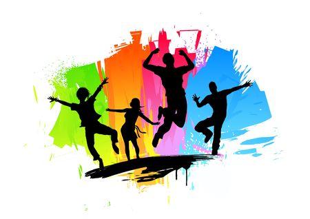 springende mensen: Actieve springen mensen. Vector illustratie. Stockfoto