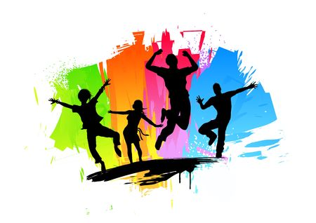 Active jumping people. Illustration.