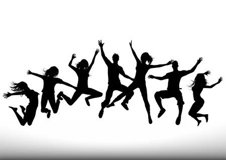Een groep van jonge mensen springen in de lucht. Alle mensen zijn individuele objecten. Vector illustratie.
