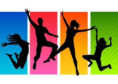 young adults: A group of happy young adults jumping! All people silhouettes are individual objects. Vector Illustration.