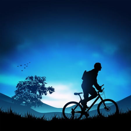 heading: A moutain biker heading for the hills. Vector illustration.