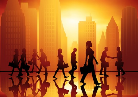 shakes: Busy people walking in the city. Vector illustration.