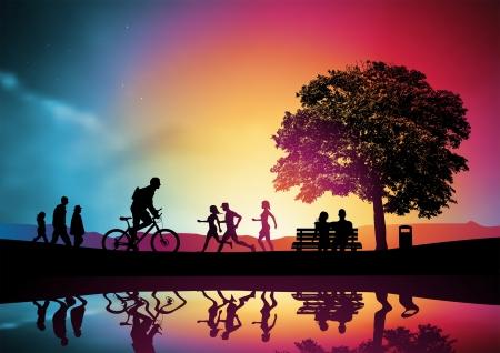 hacer footing: La gente paseo y recreo, una familia viendo la puesta de sol. Vector illustration Vectores