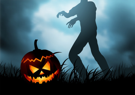 A Halloween pumpkin head with a zombie trying to reclaim it as its head! Vector