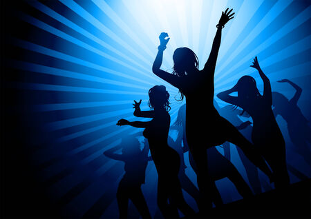 and backlight: Silhouettes of women dancing in a nightclub. Vector illustration.