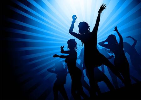 fondo luminoso: Siluetas de mujeres bailando en una discoteca. Ilustraci�n del vector.